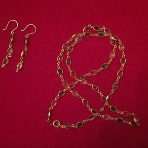 18K gold and semi precious gemstone set